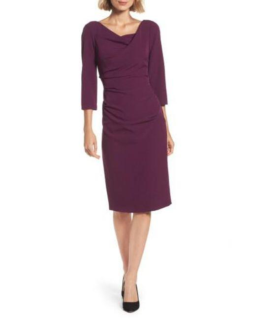 Adrianna Papell | Purple Drape Neck Midi Dress | Lyst