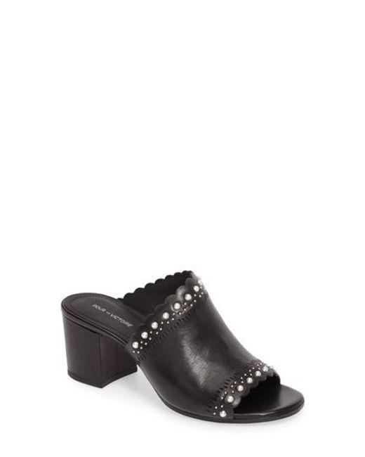 Pour La Victoire | Black Amela Embellished Slide Sandal | Lyst
