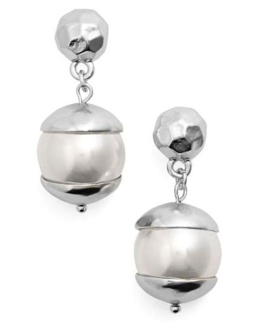 Karine Sultan | Metallic Imitation Pearl Drop Earrings | Lyst
