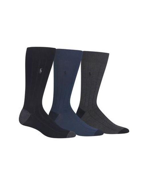 Lyst - Polo Ralph Lauren 3-pack Ribbed Socks, Burgundy in Blue for Men 9851b22f203