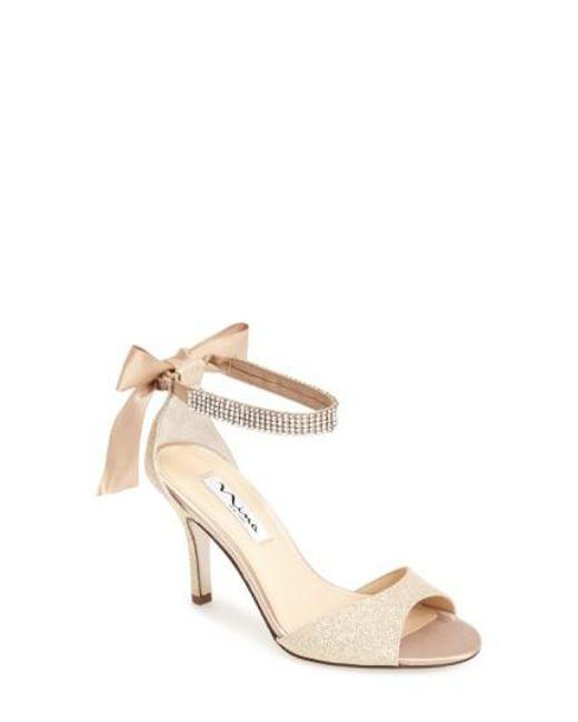 Nina - Natural 'vinnie' Crystal Embellished Ankle Strap Sandal - Lyst