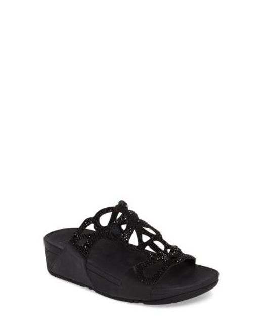 Fitflop - Black (tm) Bumble Wedge Slide Sandal - Lyst