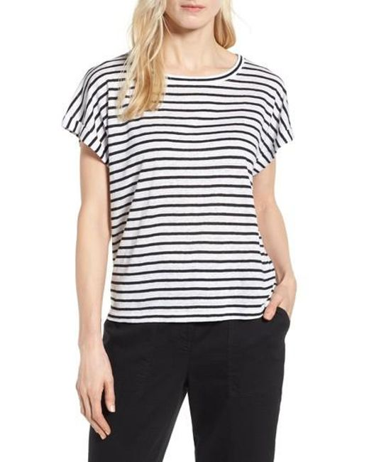 Eileen Fisher - White Stripe Boxy Organic Linen Top - Lyst