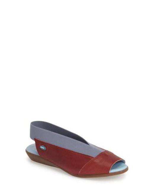Cloud | Brown 'Caliber' Peep Toe Leather Flat | Lyst