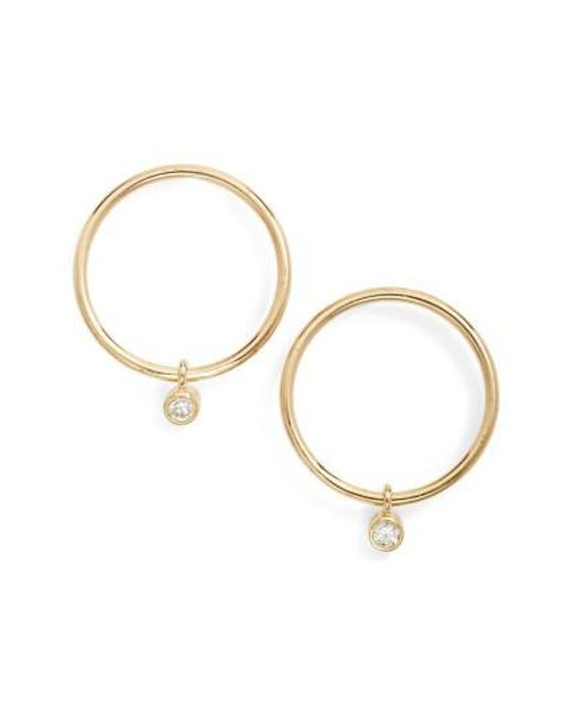 Zoe Chicco - Metallic Diamond Small Frontal Hoop Earrings - Lyst
