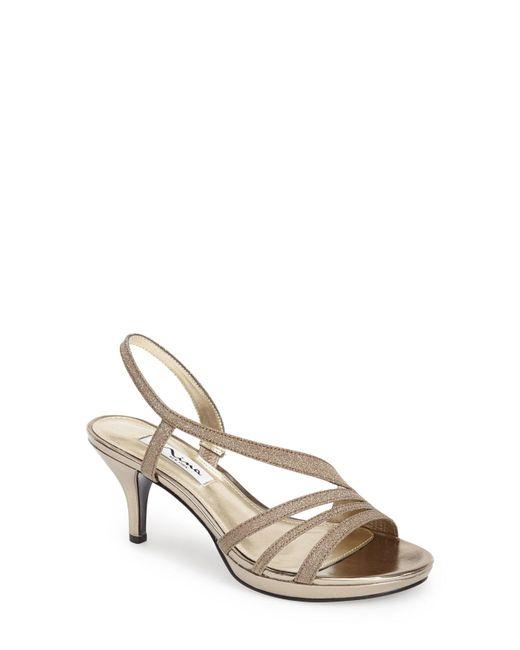 Nina - Metallic 'neely' Slingback Platform Sandal - Lyst