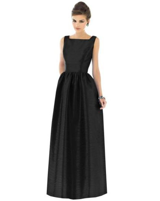 Alfred Sung | Black Square-Neck Dupioni-Silk Dress | Lyst