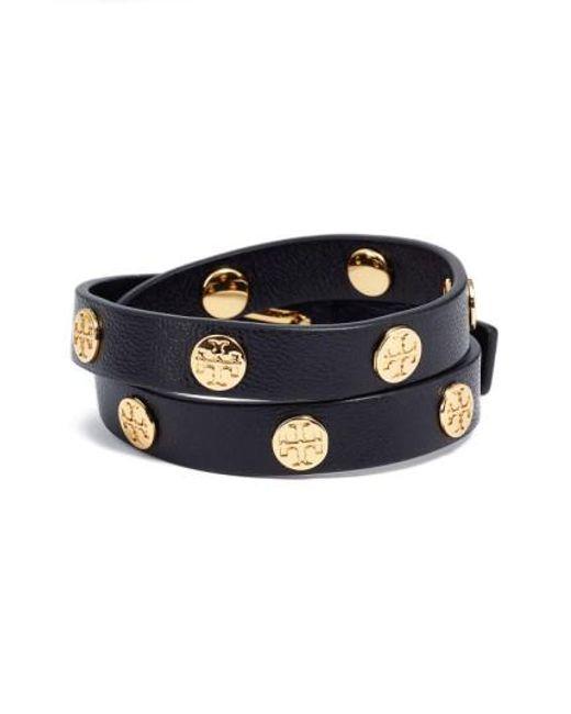 Tory Burch | Black Double Wrap Logo Bracelet | Lyst