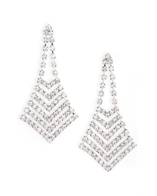 Nina - Metallic Crystal Chevron Chandelier Earrings - Lyst