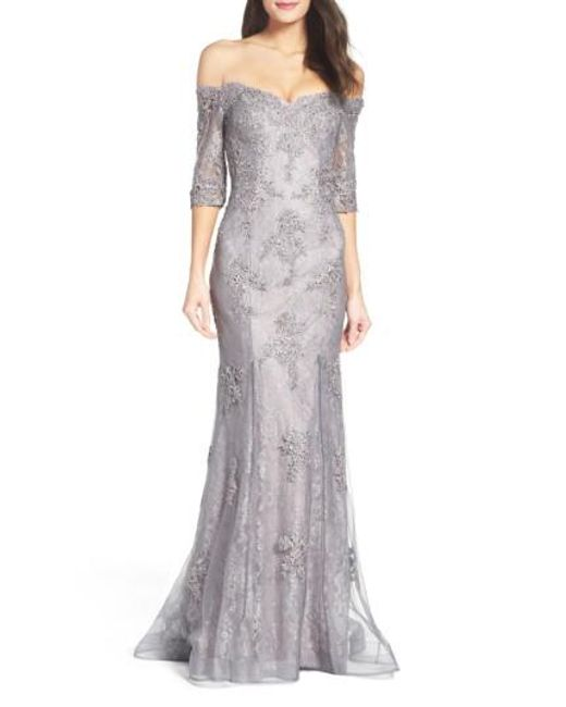 Lyst - La Femme Fit & Flare Gown With Train in Gray