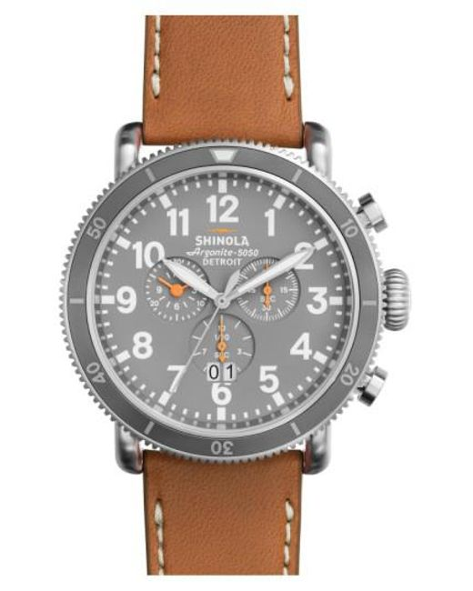 Shinola | Brown 'the Runwell' Chronograph Leather Strap Watch for Men | Lyst