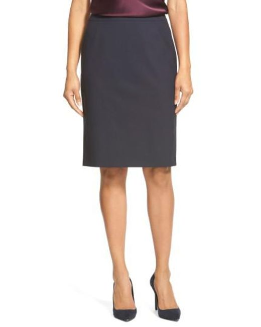 BOSS - Blue 'vilea' Stretch Wool Pencil Skirt - Lyst