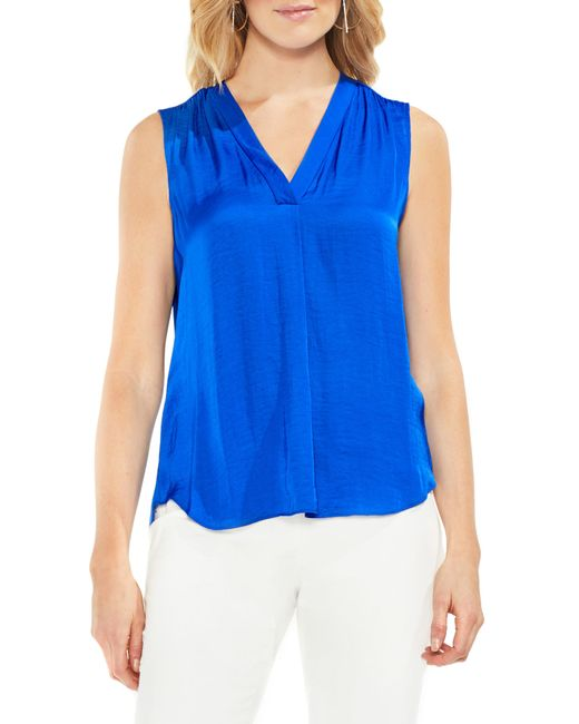 Vince Camuto - Blue Rumpled Satin Blouse - Lyst