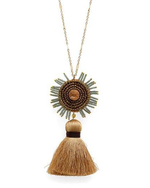 Panacea - Metallic Drusy Tassel Necklace - Lyst