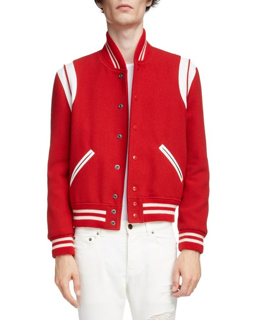 3b4e5ec341e Saint Laurent Teddy Varsity Jacket in Red for Men - Save 47% - Lyst