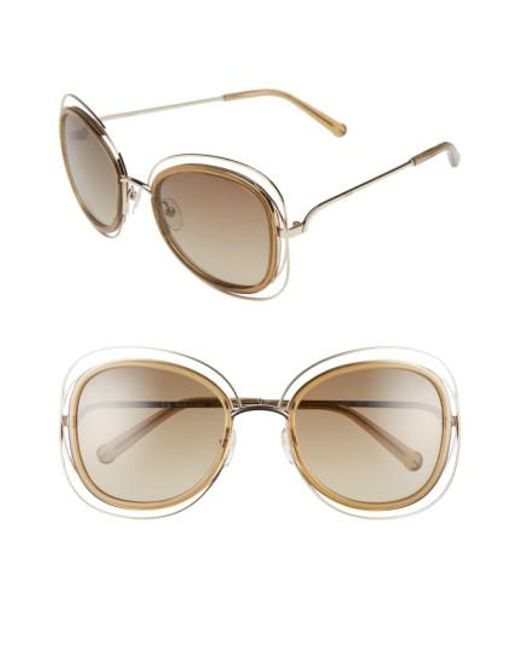 Chloé - Metallic 'carlina' 56mm Gradient Sunglasses - Lyst
