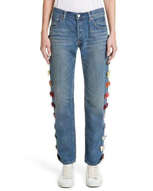 Tu Es Mon Tresor - Blue Velvet Side Bow Jeans - Lyst