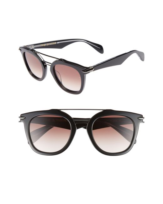 fa013ad2ed1b1 Lyst - Rag   Bone 50mm Round Aviator Sunglasses - in Black