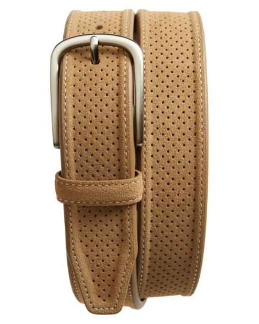 Johnston & Murphy | Metallic Perforated Suede Belt for Men | Lyst