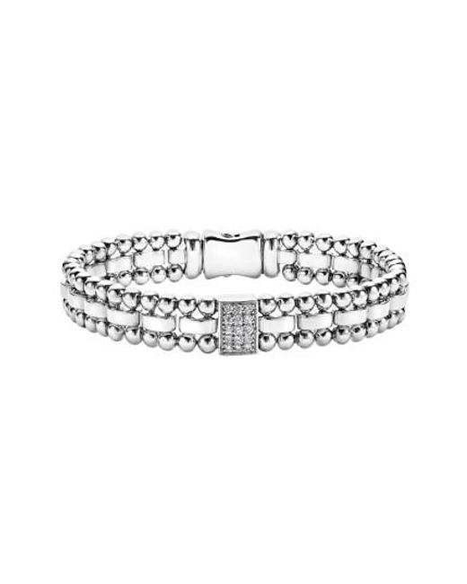 Lagos | Metallic Caviar Spark Diamond Rectangle Link Bracelet | Lyst