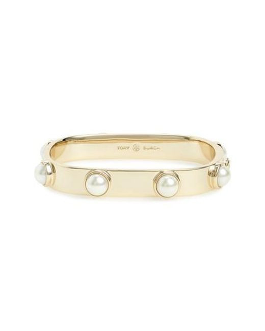 Tory Burch - Metallic Stacked Studded Imitation Pearl Bracelet - Lyst