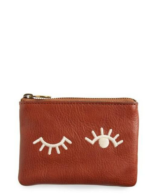 Madewell | Brown The Small Pouch Clutch: Embroidered Face Edition | Lyst