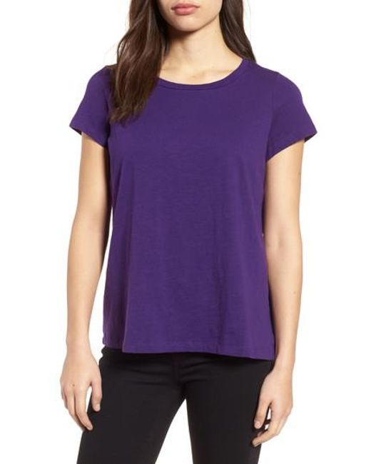 Eileen Fisher | Purple Organic Cotton Tee | Lyst