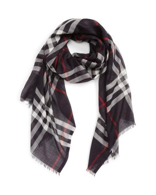 Burberry - Blue Giant Check Print Wool & Silk Scarf - Lyst