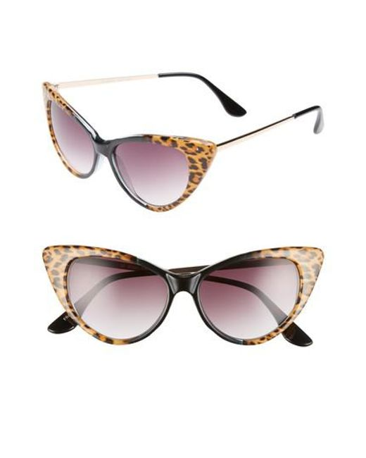 GLANCE EYEWEAR - Brown 62mm Leopard Print Cat Eye Sunglasses - Leopard/ Black - Lyst