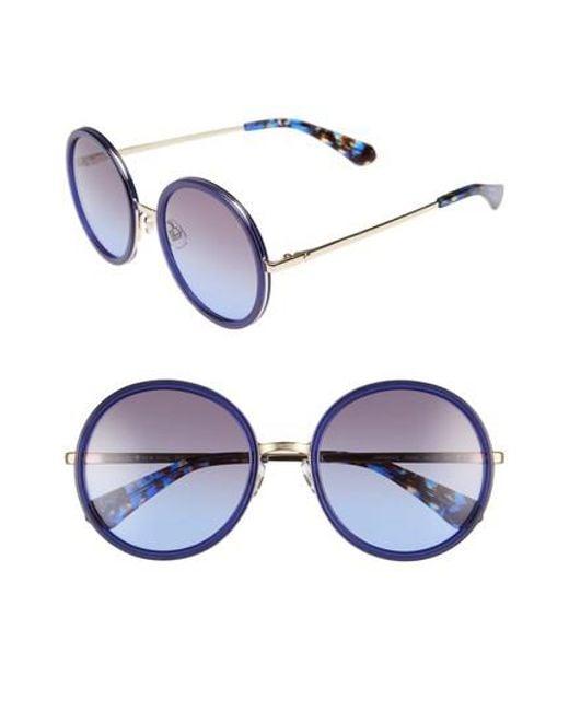 Kate Spade | Blue Lamonica 54mm Gradient Lens Round Sunglasses | Lyst