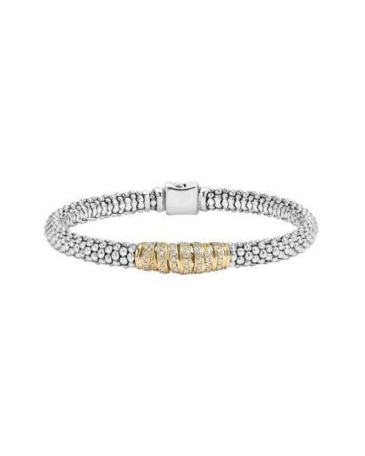 Lagos | Metallic 'diamonds & Caviar' Diamond Bracelet | Lyst