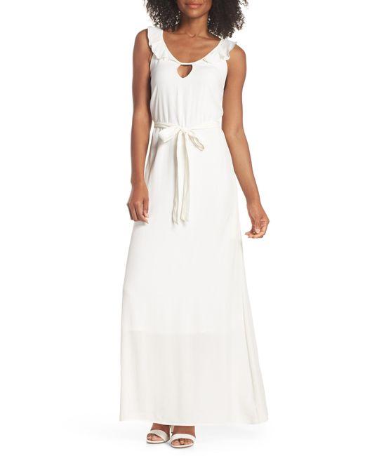 Fraiche By J - White Ruffle Neck Maxi Dress - Lyst