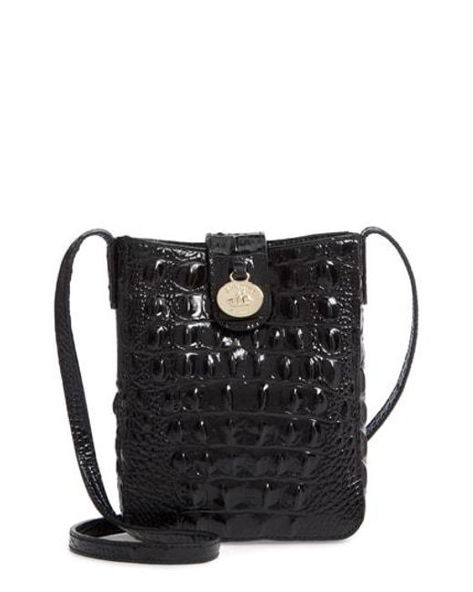 Brahmin Black Marley Croc Embossed Leather Crossbody Bag Lyst