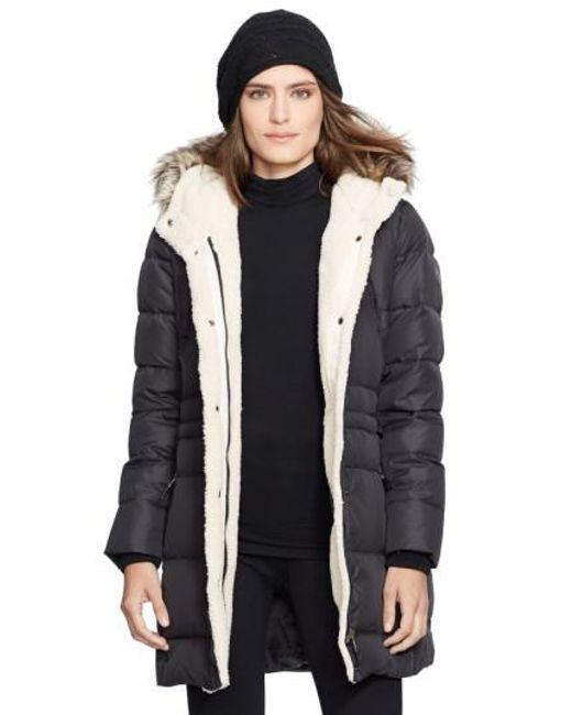 Lauren by Ralph Lauren | Black Faux Fur Trim Down & Feather Fill Parka | Lyst