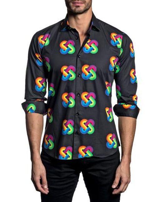 Jared Lang - Blue Trim Fit Rainbow Knot Sport Shirt for Men - Lyst