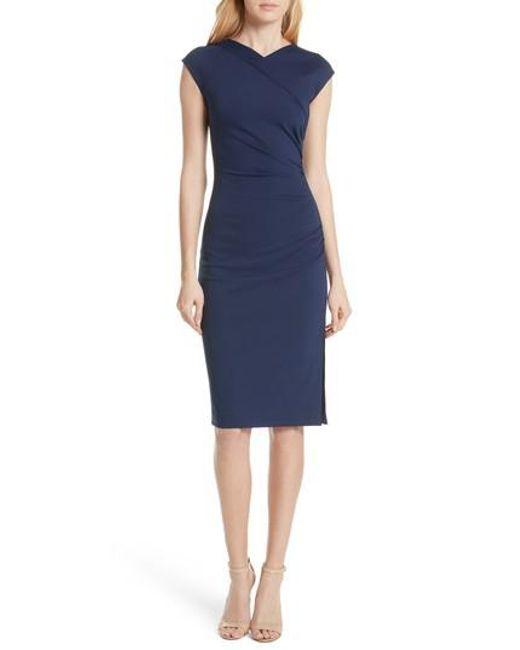 Diane von Furstenberg - Blue Ruched Cap Sleeve Jersey Body-con Dress - Lyst
