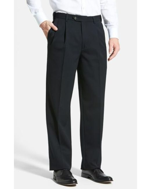 Berle - Black Self Sizer Waist Pleated Wool Gabardine Trousers for Men - Lyst