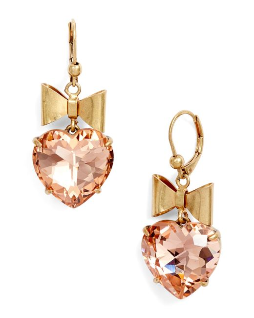 Gold Vermeil Earrings with Clear AB Crystals Heart Drops