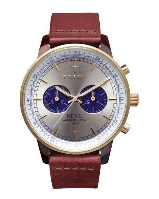 Triwa | Brown 'nevil' Chronograph Leather Strap Watch for Men | Lyst