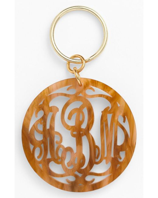 Moon & Lola - Metallic Personalized Monogram Key Chain - Lyst