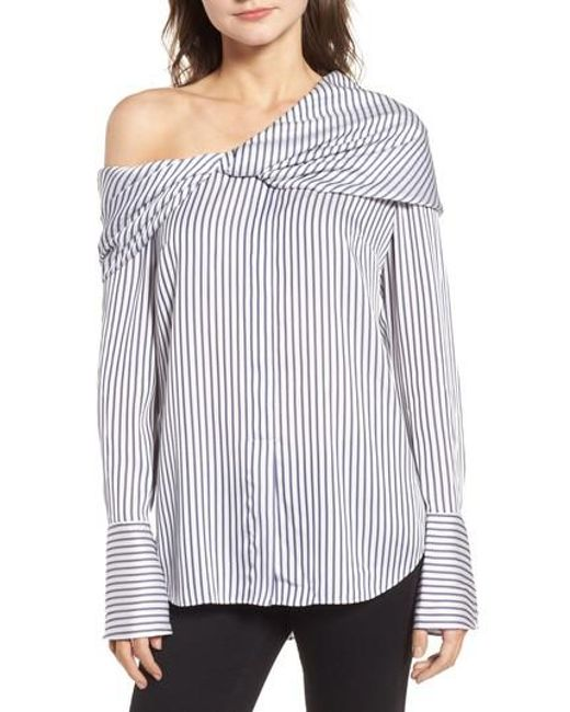 Trouvé - Blue Stripe One-shoulder Top - Lyst