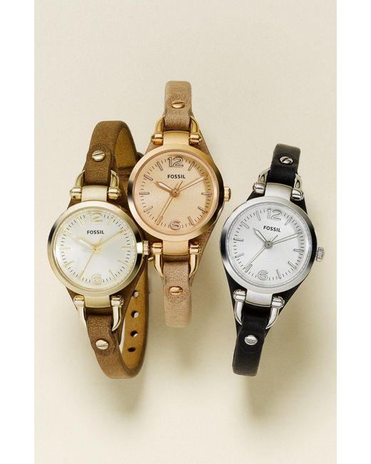Fossil - Metallic 'small Georgia' Leather Strap Watch - Lyst