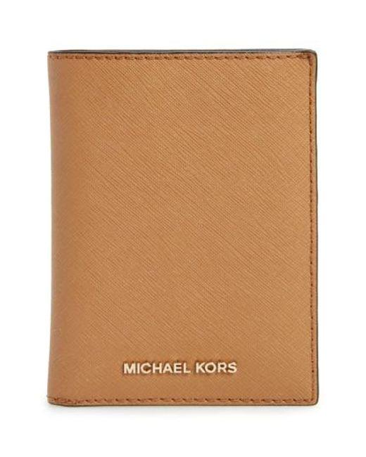 MICHAEL Michael Kors | Brown 'jet Set' Leather Passport Wallet | Lyst