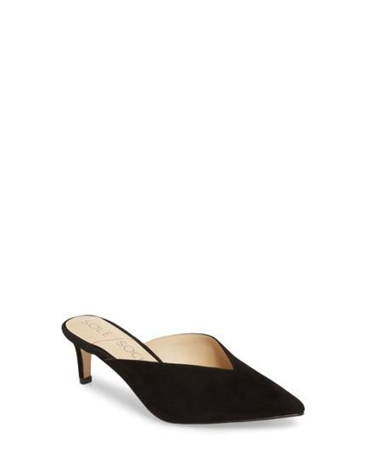 Sole Society - Black Maleah Pointy Toe Mule - Lyst