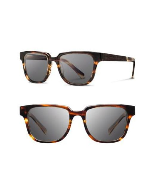 Shwood | Brown 'prescott' 52mm Acetate & Wood Sunglasses | Lyst