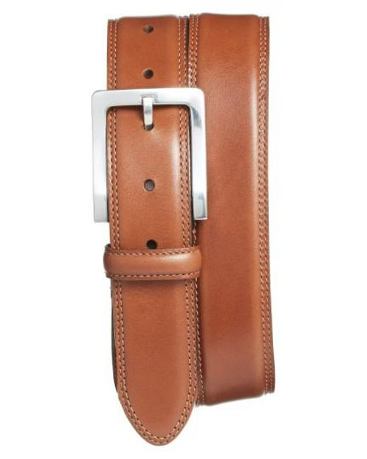 Bosca   Orange Double Stitch Leather Belt for Men   Lyst