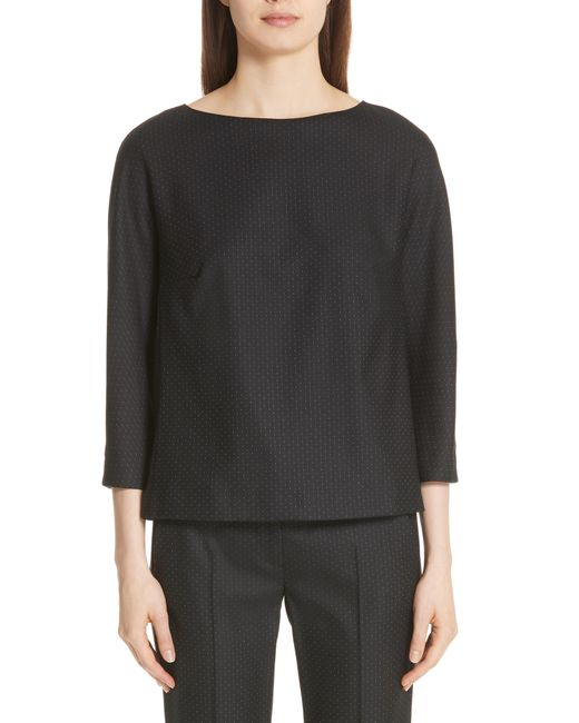 Max Mara - Black Nectar Stretch Wool & Silk Blouse - Lyst