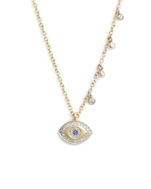 Meira T - Metallic Evil Eye Diamond Pendant Necklace - Lyst