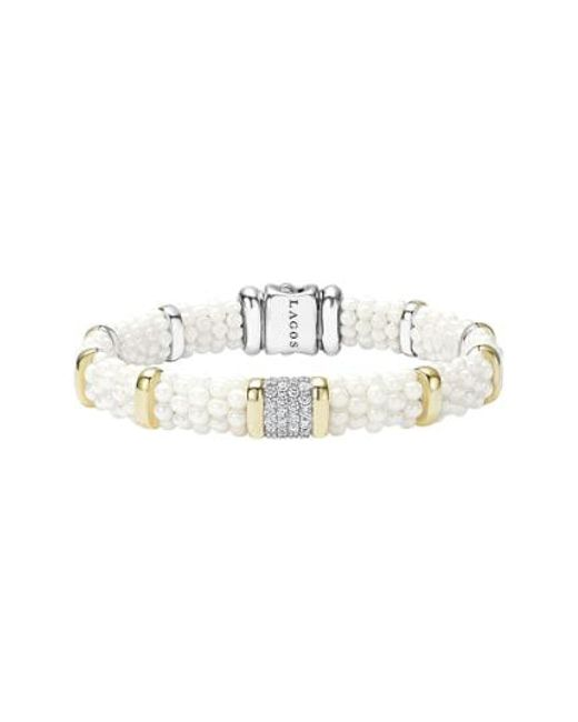Lagos - Multicolor 'white Caviar' Diamond Station Bracelet - Lyst