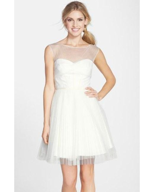 Monique Lhuillier Bridesmaids - White Illusion Yoke Tulle Fit & Flare Dress - Lyst